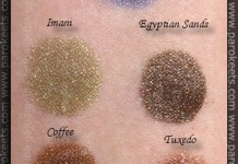 Sweetscents swatches: Twilight, Imani, Egyptian Sands, Coffee, Tuxedo