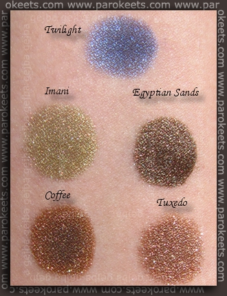 Sweetscents swatches: Twilight, Imani, Egyptian Sands, Coffee, Tuxedo