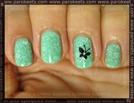 Barry M Mint Green + Konad + Viva La Nails