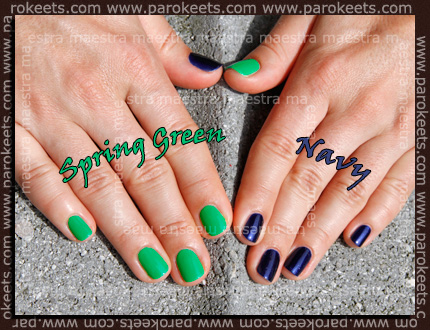 Swatch: Barry M - Spring Green and Navy