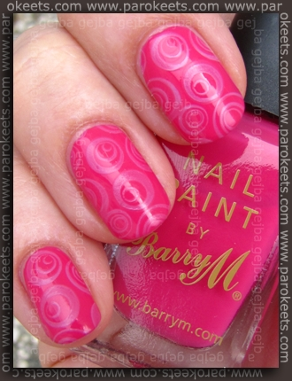 Barry M - Shocking Pink + Pale Purple fauxnad H1 swatch