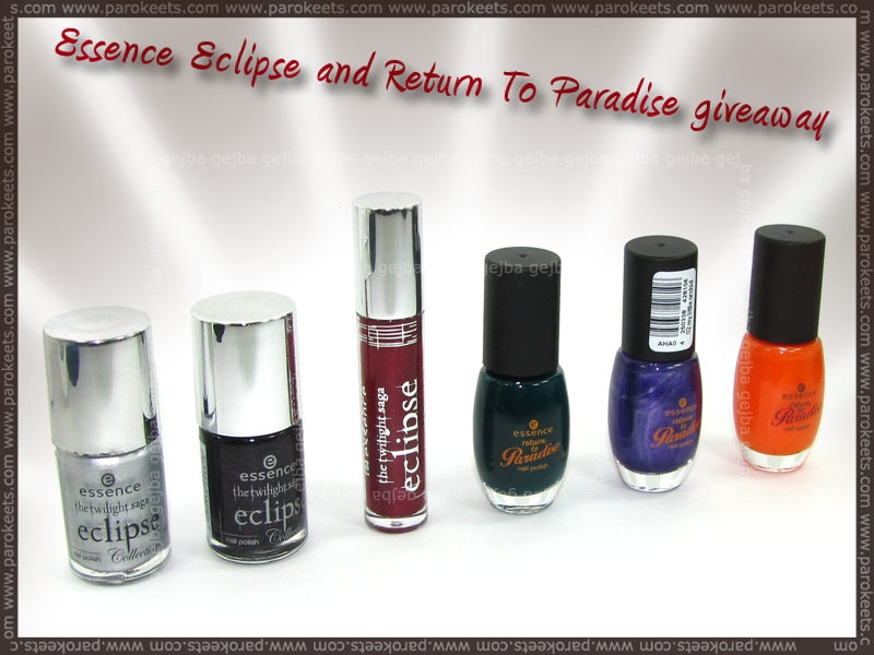 Essence: Eclipse and Return To Paradise Giveaway at Parokeets