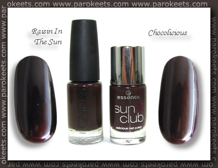 CND Raisin In The Sun vs. Essence Chocolicious comparison