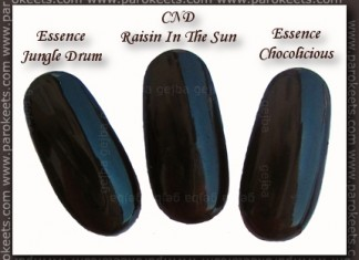 Essence: Jungle Drum, Chocolicious, CND Raisin In The Sun comparison