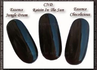 Essence: Jungle Drum, Chocolicious, CND Raisin In The Sun comparison