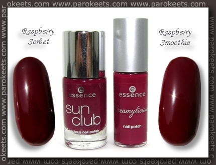 Essence: Raspberry Sorbet vs. Raspberry Smoothie comparison