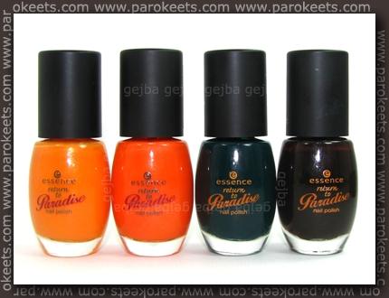 Essence Return To Paradise: Fruit Punch, Sun Downer, Back To Paradise, Jungle Drum bottles
