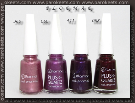 Flormar: 360, 060, 411, 068, 01 polishes
