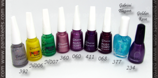 Flormar: 392, N006, N007, 360, 060, 411, 068; Gabrini Elegant 377; Golden Rose 234 polishes
