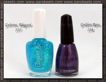 Gabrini Elegant 377; Golden Rose 234 polishes