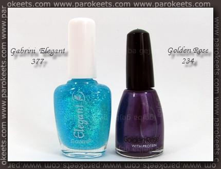 Gabrini Elegant 377; Golden Rose 234 polishes
