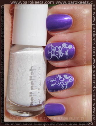 Swatch: H&M Summer Nails - White stamped over Purple
