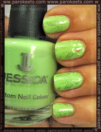 Konadicure: Jessica - Viva La Lime Light + IP A05 with China Glaze - Cherish and fimo flower