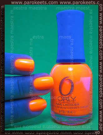 Swatch: Orly - Orange Punch under the blacklight