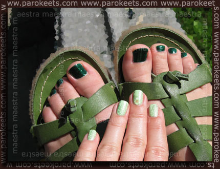 Pedicure: China Glaze - Emerald Sparkle. Manicure: Jessica - Viva La Lime Lights + KonadPedicure: China Glaze - Emerald Sparkle. Manicure: Jessica - Viva La Lime Lights + Konad