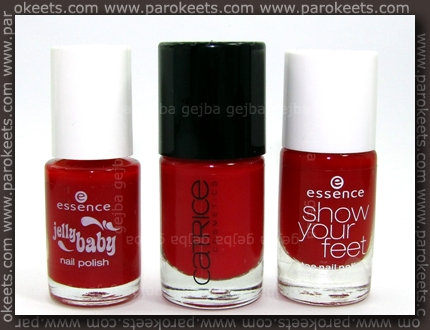 Essence Cherry Juice vs. Catrice Bloody Mary To Go vs. Essence Hot Red comparison bottles