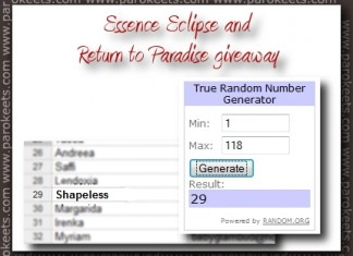 Essence Eclipse and Return To Paradise giveaway - winner