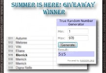 Summer is here! giveaway winner