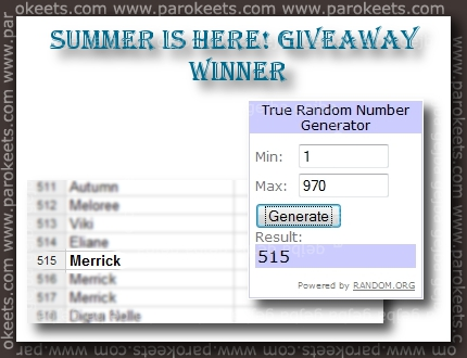 Summer is here! giveaway winner