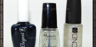 Gabrini 371, Butterfly 387, CND Sapphire Sparkle bottles