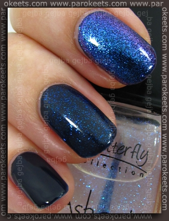 Layering: Gabrini 371, Butterfly 387, CND Sapphire Sparkle swatch