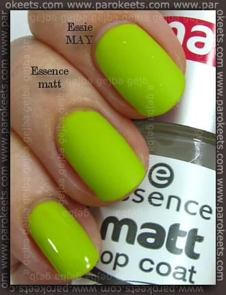Essence (We Saw It First): Lime Up! Essie MAY vs. Essence Matte Top Coat comparison