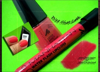 Swatch: Mahnattan - Wet Shot Look - 53U nail polish and 46D lip gloss by Maestra