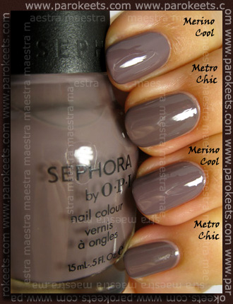 Swatch and comparison: Essie Fall 2010 - Merino Cool (vs. Sephora by OPI - Metro Chic)