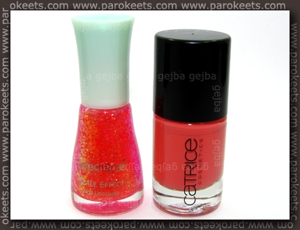 Golden Rose Scale Effect 12, Catrice I Scream Peach bottle