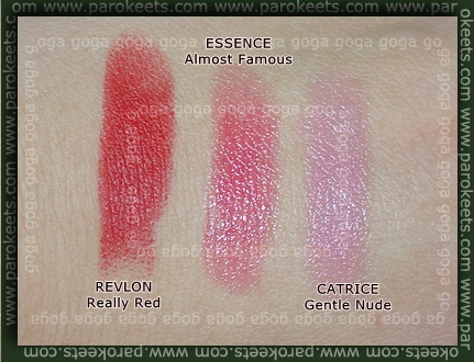 Revlon Really Red Essence Almoust Famous Catrice Gentle Nude swatch