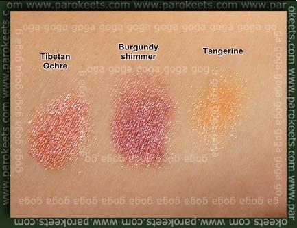 Sweetscent Tibetan Ochre, Burgundy Shimmer, Tangerine swatch