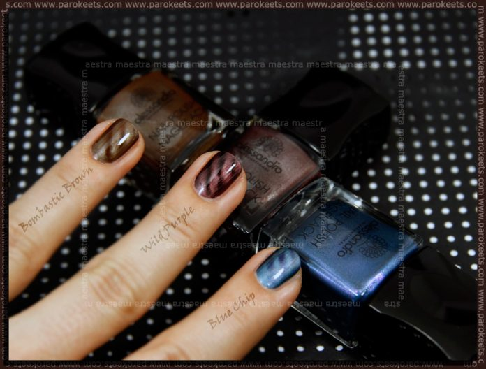 Swatch: Alessandro - Go Magic! Twist: Blue Chic, Wild Purple, Bombastic Brown