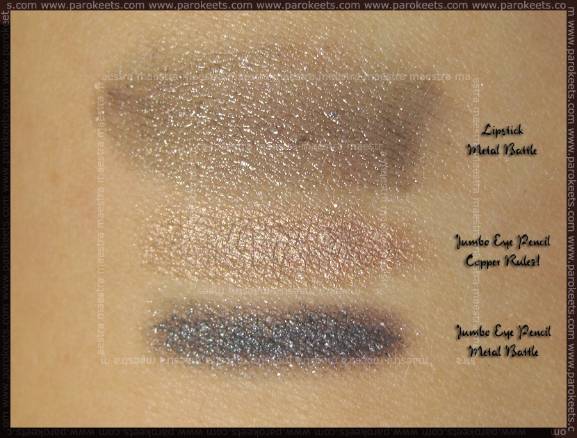 Swatch: Essence Metallics Trend Edition: Jumbo Eye Pencil - Metal Battle and Copper Rulez! and lipstick Metal Battle
