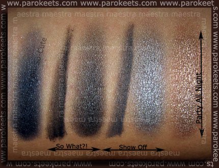 Swatch: Essence: eyeshadow Party All Night, Smokey Eyes Set - Show Off, So What