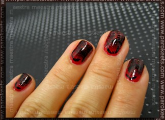 Halloween manicure: Bloody Bat by Maestra