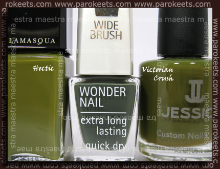 Comparison: IsaDora - Trend Nails Fall Collection - In The Army vs. Illamasqua - Hectic vs. Jessica - Victorian Crush