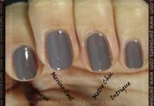 Compraison: Jessica - Intrigue vs. Essie - Merino Cool vs. Sephora by OPI - Metro Chic (2 coats)