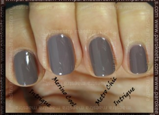 Compraison: Jessica - Intrigue vs. Essie - Merino Cool vs. Sephora by OPI - Metro Chic (2 coats)