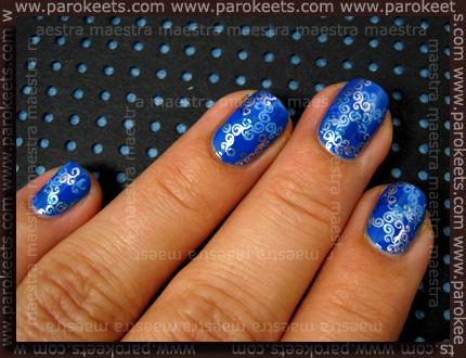 Konadicure: Kiko - 294; Essence IP, laki Stargazer - 233, ChG - Sci-Fi, Konad special polish - Pastel Blue in Blue Pearl