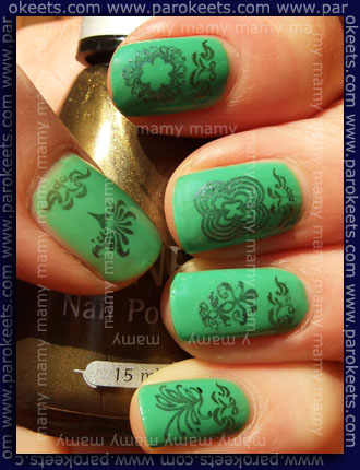 KOnadicure: Orly: Mint Mojito, Magnetic: Shimmering Bronze, H&M: Mad About You, Essence IP