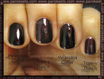 Comparison: OPI Burlesque - Tease-y Does It vs. Collistar - Melanzana Glitter