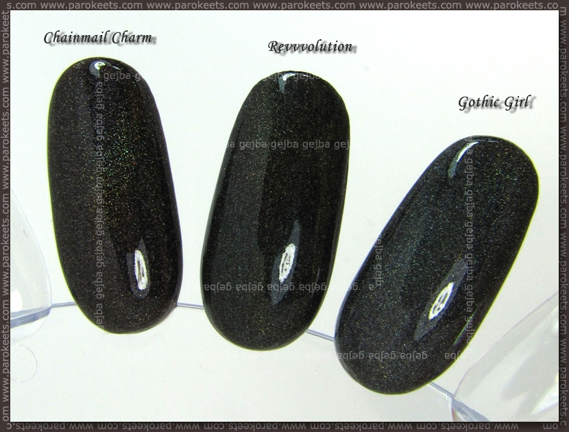 Comparison: Diamond cosmetics Chainmail Charm vs. Color Club Revvvolution vs. Essence Gothic Girl nail wheel