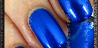 Comparison: Maybelline Mini Colorama Electric Blue vs. Gabrini 335 swatch