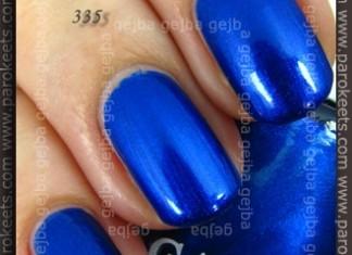 Comparison: Maybelline Mini Colorama Electric Blue vs. Gabrini 335 swatch