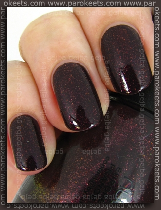 Comparison: OPI Burlesque Tease-Y Does It vs. Nubar Raspberry Truffle swatch