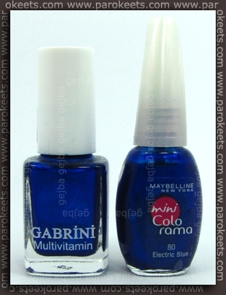 Maybelline Mini Colorama Electric Blue vs. Gabrini 335 bottles