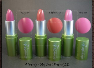 Swatch: Alverde - My Best Friend LE - lipsticks Nadja, Kathrin, Tula