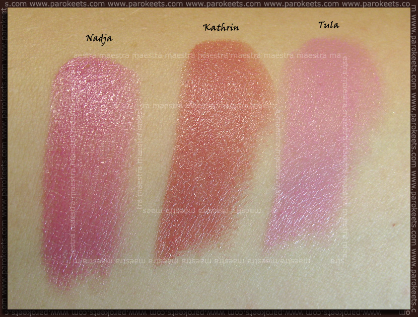 Swatch: Alverde - My Best Friend LE - lipsticks Nadja, Kathrin, Tula