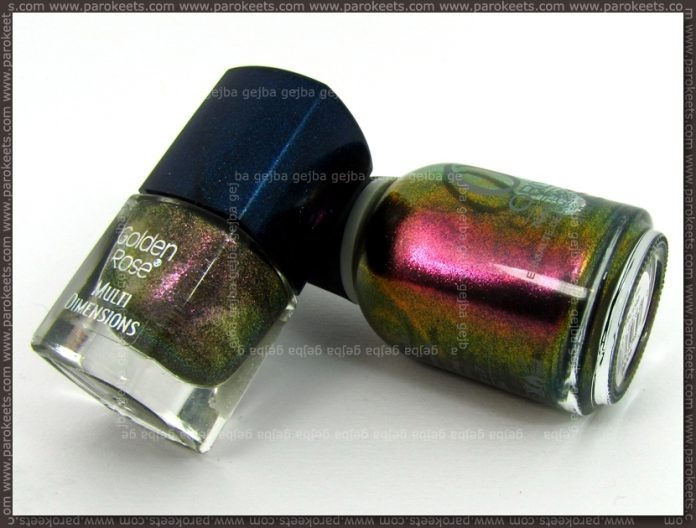 Comparison: Orly Cosmic - Space Cadet vs. Golden Rose 11 bottles