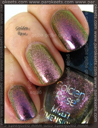 Comparison: Orly Cosmic - Space Cadet vs. Golden Rose 11 swatch